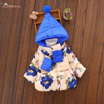 Warm Winter Baby Infant Girls Children Kids Ball Hooded Scarf Down-Cotton Thicken Flora Jacket Outwear Parkas Coat Casaco S5893