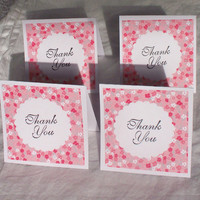 Spring Pink Flowers Mini Cards Set of 4