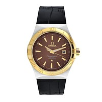 OMEGA men's tide brand fashion quartz personality watches F-SBHY-WSL Gold case + coffee dial