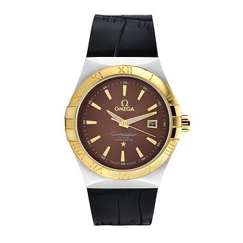 Omega brand fashion trendy men and women watches F-SBHY-WSL Black + golden shell + brown dial