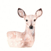 Fawn/Deer/Tan/Cream/Beige/Brown / Archival Watercolor Print