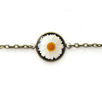 90s Style Black and White Daisy Bracelet - Single Charm Chain Link Bracelet - Creepy Cute Pastel Goth Funny Antisocial Soft Grunge Jewelry