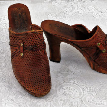 70s Qualicraft leather high heel clogs size 5 Brazilian made 1970s boho hippie cutout brown leather clogs wooden heels SunnyBohoVintage