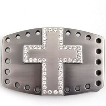 Silver Boho Rhinestone Cross Belt Buckle