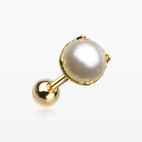Golden Faux Pearl Cartilage Tragus Barbell