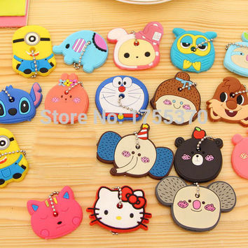 New Cute Animals Silicon Key Caps Covers Keys Keychain Case Shell Novelty Item Key Accessories For Girls