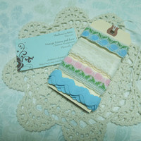 Pink, Blue, and White Lace Kits, Lace Inspiration Kits, Craft Inspiration, Lace Trim on Tag, Lace Samples by MarlenesAttic