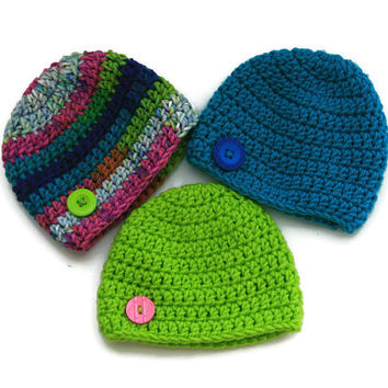 August Baby hats neon lime green, teal blue, hot pink summer shower set of three crochet newborn 0-3 month photo prop