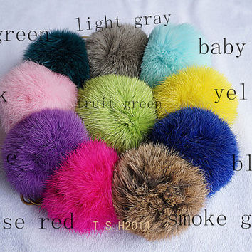20 colors Rabbit fur ball keychain, 10 cm  Rabbit fur ball keychain , pendant,phone dust plug