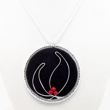 Lotus Flower Necklace, Silver Wire with Red Stone Beads on Black, One of a Kind, Artful, Unique, Classy