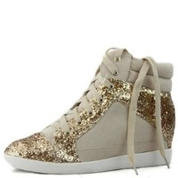 Women's Qupid Lace Up Flat Wedge Hidden High Heel Glitter Comfortable Sneakers Fashion Shoes