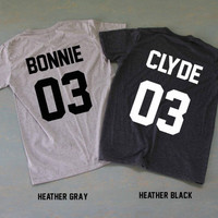 Bonnie And Clyde Shirts Couples Shirts T Shirt T-Shirt TShirt Tee Shirt Unisex - Size S M L XL XXL