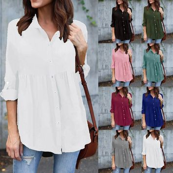 Women's Plus Size Empire Style Roll Up Sleeve Summer Shirt (8 Colors)