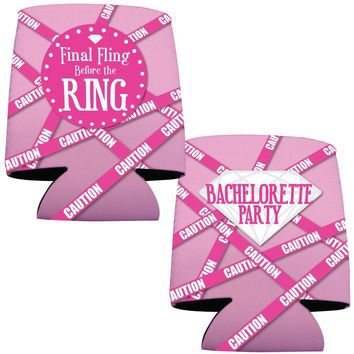 "Bachelorette Drink can coolers -""Final Fling..."" Pink Caution Tape"