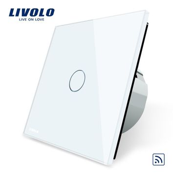 Livolo EU Standard Remote Switch Crystal Glass Panel 220~250V Wall Light Remote Touch Switch VL-C701R-1 2 3 5