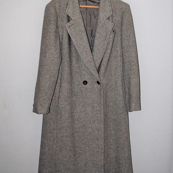long grey tweed coat minimalist hipster vintage gray wool duster jacket size medium