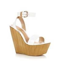 New Look Mobile | White Patent Ankle Strap Wooden Platform Wedges