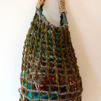 Mesh, Earth Colored Basket or Bag, Tunisian Crochet with Wool and Twine Knitted Handle