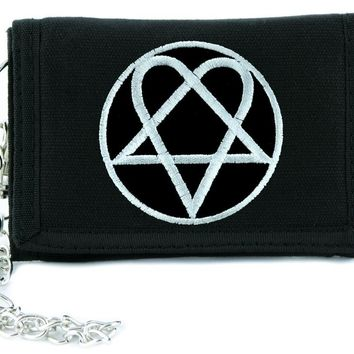 HIM Heartagram Ville Valo Tri-fold Wallet w/ Chain Love Metal