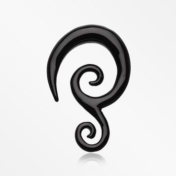 A Pair of Double Tribal Spiral Acrylic Ear Gauge Taper Hanger