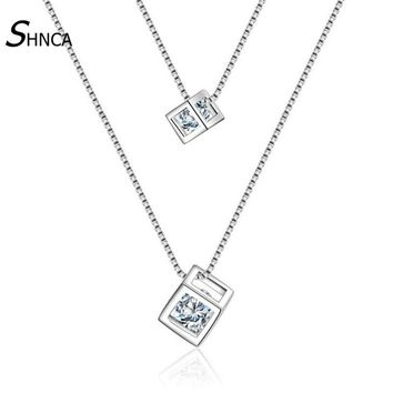 New Double Chain Colar Necklace Love Cube Pendants 925 Sterling Silver Fine Jewelry Charm  Statement  Necklaces Colares N043