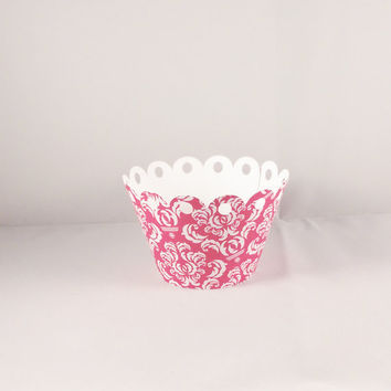 Cupcake Wrapper Wedding, Bridal Shower, Tea Party, Birthday Celebration, Hot Pink and White Damask - Limited Quantity