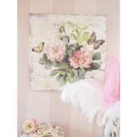 Shabby Cottage Chic Rose Canvas Print Wall Decor - DECORATIVE ACCENTS - HOME DÉCOR