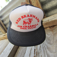 70s Texas Farmer's Cap for Red Brahmans Cattle 50-59 cm/20-23,2 in // Vintage Mesh Hat // Mint Condition