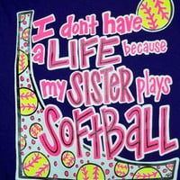 Southern Chics Funny Softball Sister Sweet Girlie Bright T Shirt