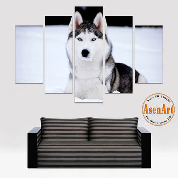 5 Panel Wall Art Husky Lion Elephant Fox Horse Animal Painting Canvas Prints Modern Home Decoration Wall Pictures Unframed