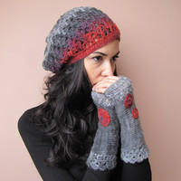 HOPE Elegant Crochet Beret Hat in Grey, Charcoal, Raspberry and Purple