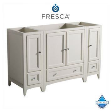 "Fresca Oxford 54"" Antique White Traditional Bathroom Cabinets"