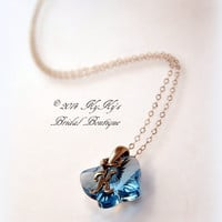 Flower Girl Personalized Butterfly Necklace, Crystal Butterfly Necklace, Wedding Jewelry, Little Girl Jewelry, Flower Girl Gift