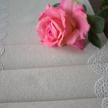 Natural Linen Table Runner, wedding, rustic table runner, ivory lace