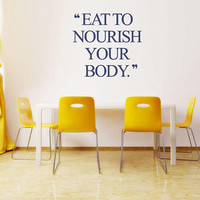 Fitness Motivation Wall Decal, Inspirational Quote, Eat Well Wall Decal , Studio Wall Sticker, Get Fit Quote Decor, Wall Decal Quotes nm031