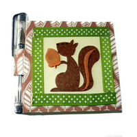 Squirrel Forest Post It Note Holder with Pen