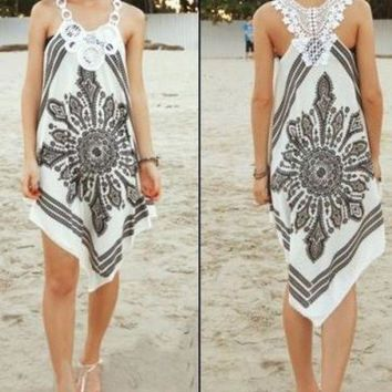 VONEJ8 Fashion irregular beach printing dress