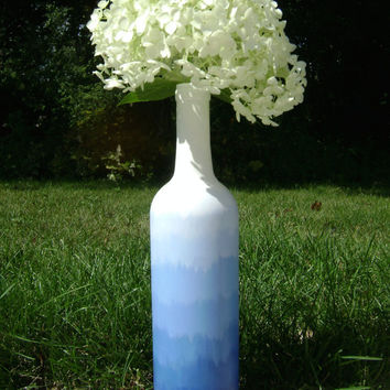Blue Ombre Vase Upcycled Wine Bottle centerpiece hand painted recycled glass gradient