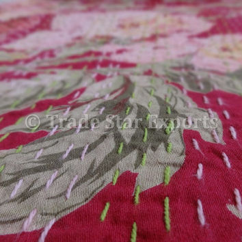 Glazed Cotton Kantha Quilt, Floral Printed Kantha Bedspread, Pink Color Theme, Indian Queen Size Bed Cover / Bed Sheet, Home Decor
