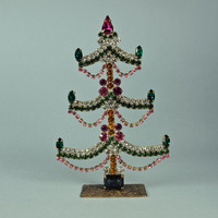 Czech Christmas Tree Rhinestone Green, Pink, Amber Bohemian Tabletop 1950's