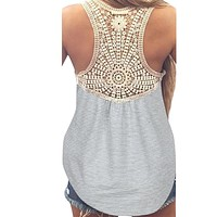 Women Summer Lace Vest Top Short Sleeve Blouse Casual Tank Tops T-Shirt