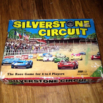 Vintage 1960 Silverstone Circuit Car Racing Board Game / Retro Grand Prix Board Game / Great Graphics / Original Box