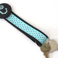 Key Chain Personalized Cross Stitch Initial Key Fob Wristlet Light Turquoise Blue Black Polka Dot Monogrammed