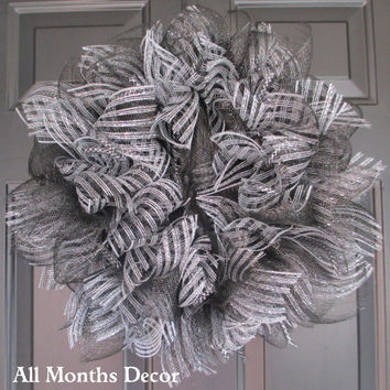 SALE Silver Striped Deco Mesh Holiday Wreath, Winter Christmas Door Decor, Fall Autumn, Wedding Decor, Thanksgiving, New Year