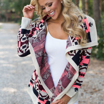Opulent Beauty Aztec Sweater Pink