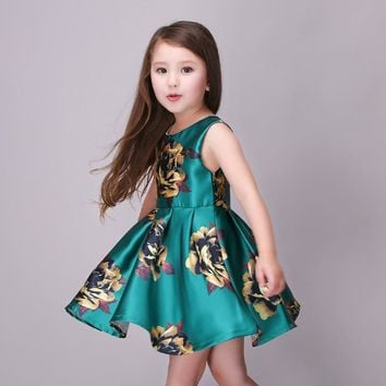 Golden Rose Flower Girl Dress Dark Green Kids Dresses for Girls Summer Dress Casual robe fille enfant 3-7T