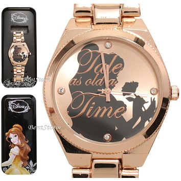 Licensed cool Disney Beauty & the Beast Belle Silhouette with Rose Watch in Metal Tin NEW