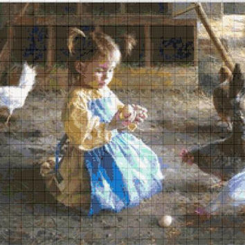 Cross Stitch Pattern Design Village Chickens
