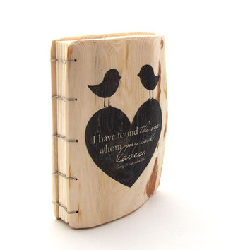 Personalized Wedding Guest Book heart birds // I have found the one whom my soul loves