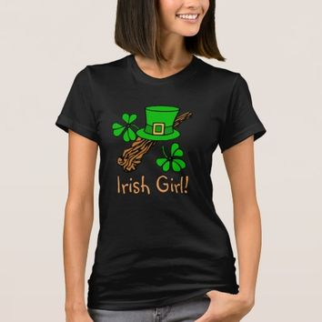 Irish Girl with hat & green shamrocks T-Shirt